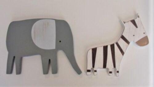 Wooden Elephant & Zebra Wall Hangings Nursery Babies Room Safari
