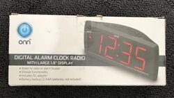 New ONN AM/FM Digital Alarm Clock Radio Large 1.8 Display Battery Back Up M24A