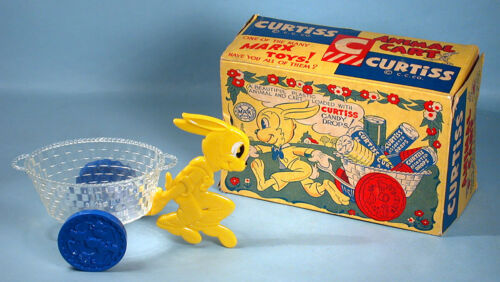 1950s Louis Marx Curtiss Animal Cart Easter Bunny Toy with Box Candy Advertising