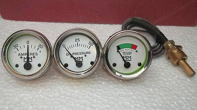 Minneapolis Moline Temp Oil Pr Ampere Gauge Set- Gruz335400445 500 600
