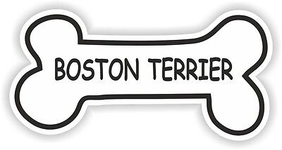 BOSTON TERRIER BONE STICKER BREED NAME DOG FOOD BOWL PUPPY PET VINYL DECAL