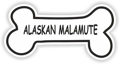 ALASKAN MALAMUTE BONE STICKER BREED NAME DOG FOOD BOWL PUPPY PET VINYL DECAL