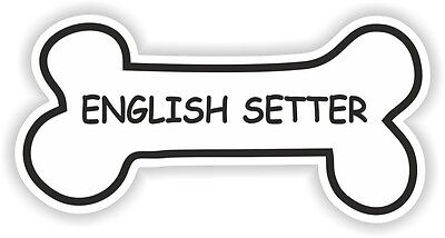 ENGLISH SETTER BONE STICKER BREED NAME DOG FOOD BOWL PUPPY PET VINYL DECAL