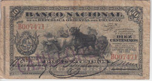 "Uruguay Banknote PA87c-7471 10 Centesimos ""Canelones"" Branch Stamp, F"