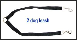 TWO WAY DOUBLE LEASH DOG COLLAR - WALK WALKING 2 DOGS - BLACK NYLON - HARNESS