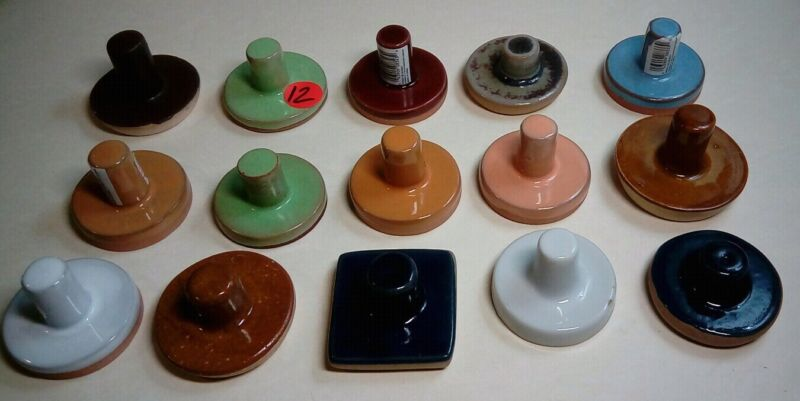 15 COOKIE STAMPS PRESS TERRA COTTA CERAMIC MANY MAKERS & DESIGNS NEVER USED NOS