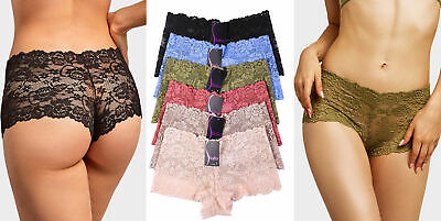 6 Pack Lot Women Lace Hipster Boyshorts Panties Underwear Cheeky Bikini (Lace Cheeky Boyshorts Panties)