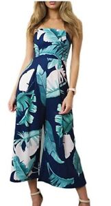 NEW!!! Women Casual Strapless Floral Print Tunic Jumpsuit Loose