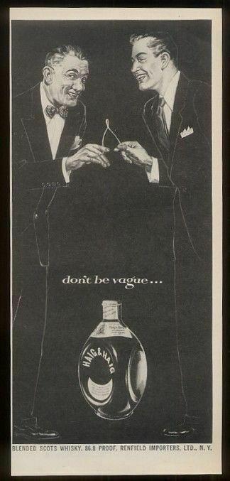 1953 Haig & Haig Scotch Whisky smiling wishbone men art