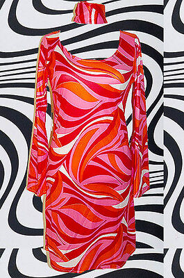 101✪ Trompetenärmel Retro Kleid Psychedelic Kostüm Panton Ära 60er 70er - 60er Ära Kostüm
