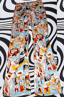 26✪ groovy 60er 70er Jahre Comic Strip Hippie Schlaghose bunt gemustert Gr. M