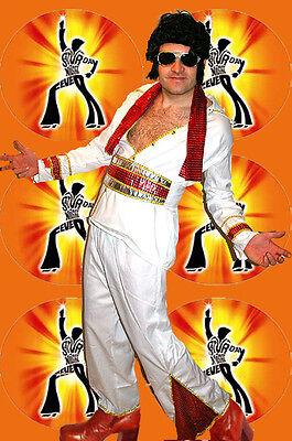 238✪ Saturday Night Fever Elvis Kostüm Glam Rock 60er 70er Jahre weiß rot gold