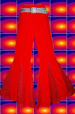 6✪ 60er 70er Jahre groovy Hippie Mega Schlaghose Boney M Glam rot Gr. S, M, L