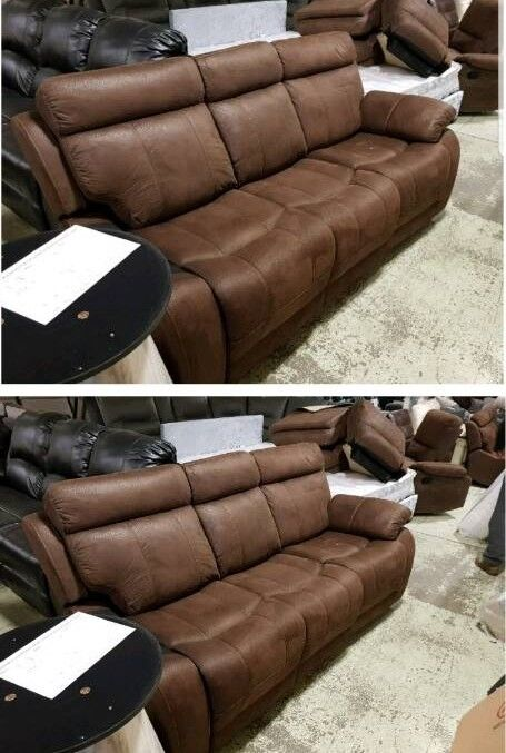 Brown suede 3 & 3 seater sofa recliner