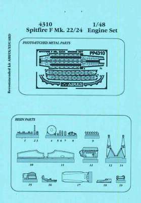 Aires 4310 1:48 Spitfire F Mk. 22/24 Motor Set for Airfix Kit