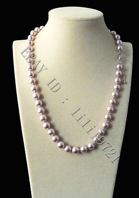 Beautiful 8mm AAA+ Purple south sea shell pearl necklace 18