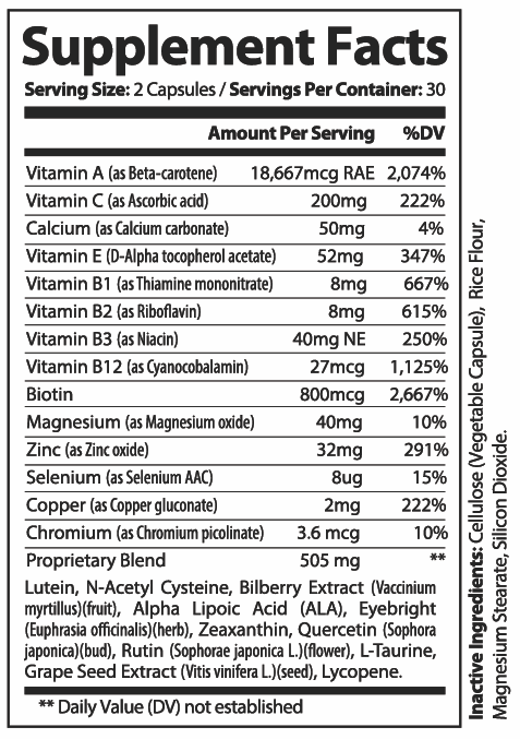 2 Bottles Provisine - Vision Support 60 Capsules x2 1