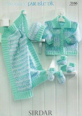 Fair Isle Hat Patterns - Sirdar 3166 Snuggly Fair Isle Baby Child Jacket Hat Mitt Double Knitting Pattern