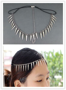 Metallic-Rivet-Chain-Hairband-Spike-Headband-Headwrap-Ponytail-Hair-Accessory