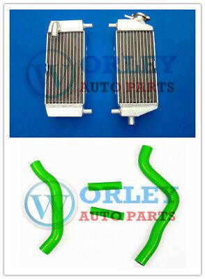 Aluminum Radiator + Green Hose For Kawasaki KX125 2003 2004 2005 2006 2007 2008