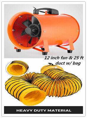 12 Extractor Fan Blower Portable 8m Duct Hose Wbag Fume Ventilation Exhaust