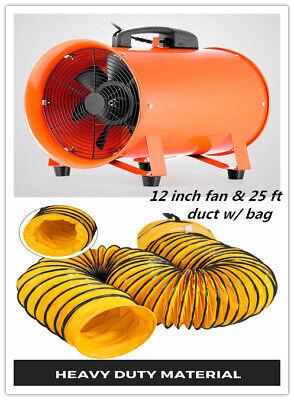 12 Extractor Fan Blower Portable 8m Duct Hose Wbag Fume Ventilation Exhaust