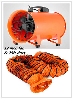 12 Extractor Fan Blower Portable 8m Duct Hose Ventilator Industrial Air Mover