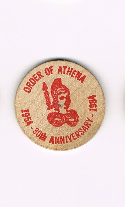 Wooden Nickel Order of Athena 30th Anniversary 1954-1984