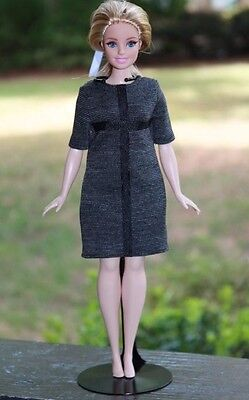 Clothes for Curvy Barbie Doll. Gray dress for Dolls.