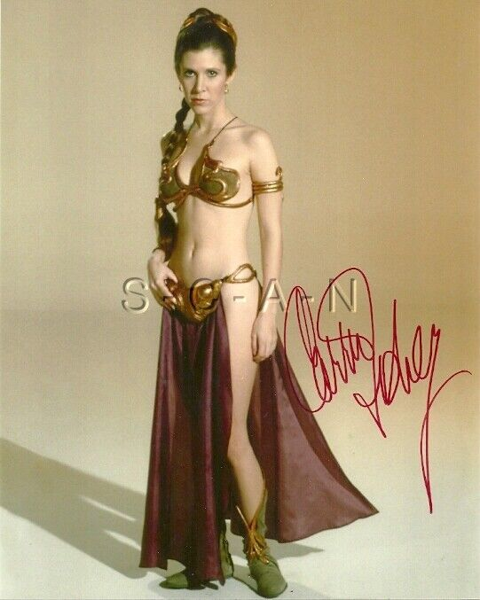 Vintage Star Wars Carrie Fisher Hand Signed Autograph Slave Leia W/ Coa ~ 8 X 10
