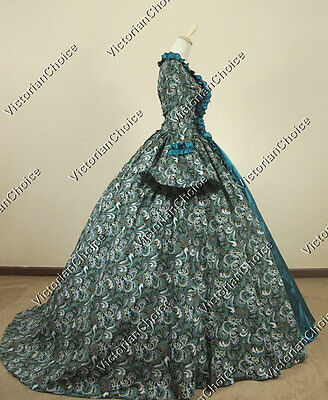 Victorian Gothic Masquerade Gown Princess Prom Dress Theater Reenactment 119 S