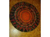 Red Orange Black Multi Colour circular rug carpet