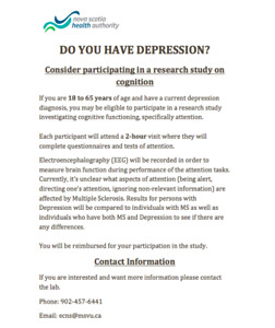Volunteers with a Diagnosis of Depression Needed