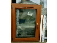 Pair of New Double glazed Golden Oak uPVC Windows with sill ideal for a porch