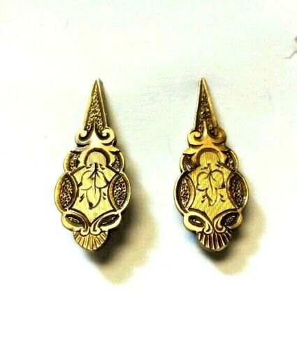 Antique 7k Yellow Gold Floral Skull Earrings