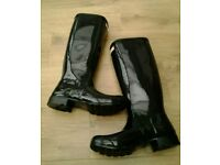 Brand new gloss black hunter wellies wellington boots size 8