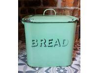 Vintage retro pastel green enamled bread bin