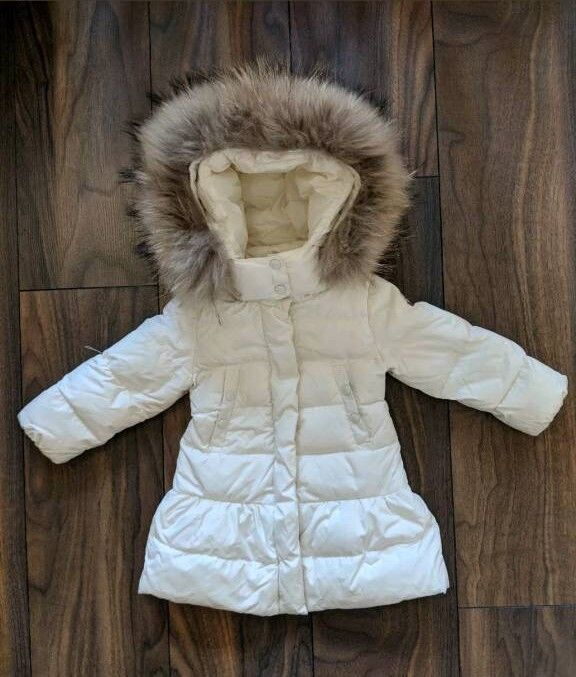 7fce95b8c2ca Used Baby Girls Toddler Infant Moncler Jacket Coat Fur Hood 12-18 ...