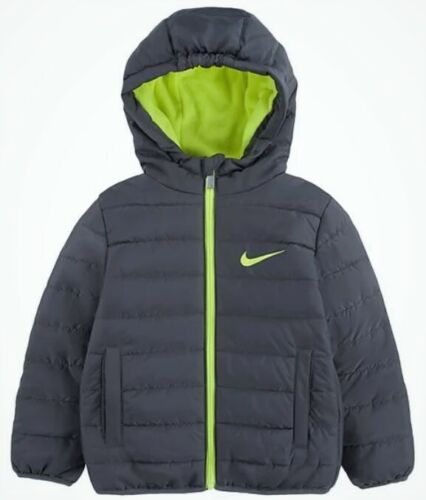 $75 Nike Dark Gray Puffer Zip Hooded Jacket 4T Toddler Boy Brand New With Tags!