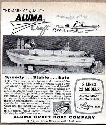 1958 Print Ad Aluma Craft Boats Dealer Showroom Minneapolis,MN