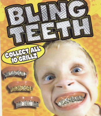 BLING GRILL GRILLZ FAKE TEETH GOLD SILVER HIP HOP GANGS