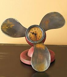 Vintage Metal Round Clock MARINE PROPELLER Table Desk Mantel Shelf Retro