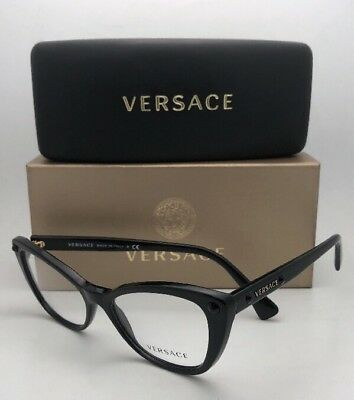 New VERSACE Eyeglasses MOD.3222-B GB1 52-16 140 Black Cat Eye Frames w/ Crystals