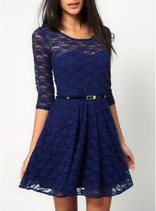 Womens Sexy Spoon Neck 3/4 Sleeve Cocktail Lace Skater Dress Slim UK Size 6-16
