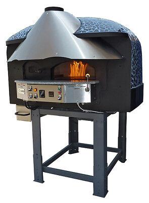 Mixed Rotating Gas-wood-burning Pizza Oven Black Mosaic