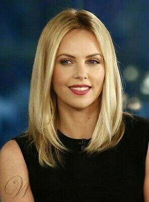 Enchanting Mid-length Straight Blonde Wig 12 Inches Celebrity Style