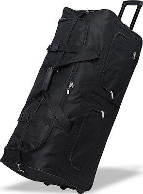 "40"" Polyester Rolling Duffel Wheeled Luggage Suitcase Travel Duffel Bag - Black"