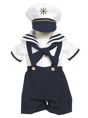 New Baby Toddler Boys Nautical Navy Sailor Short Suit Set Outfit with Hat 160F - Toddler Sailor Suit