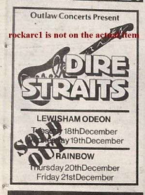 DIRE STRAITS 'sold out tour dates' 1979 UK mini Press ADVERT 5x3 inches