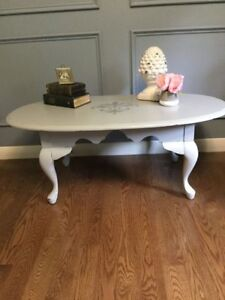 French Provincial Solid Wood Coffee Table - Gray